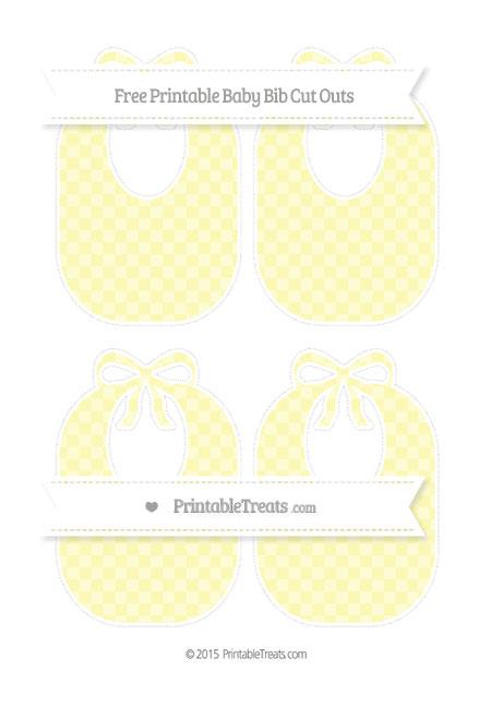 Free Pastel Light Yellow Checker Pattern Medium Baby Bib Cut Outs