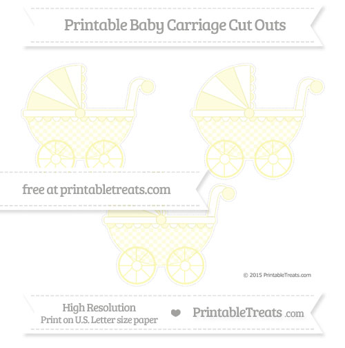 Free Pastel Light Yellow Checker Pattern Medium Baby Carriage Cut Outs