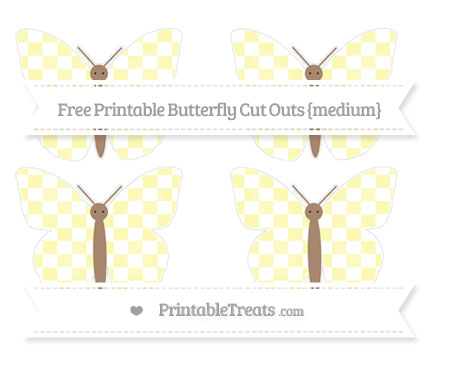 Free Pastel Light Yellow Checker Pattern Medium Butterfly Cut Outs