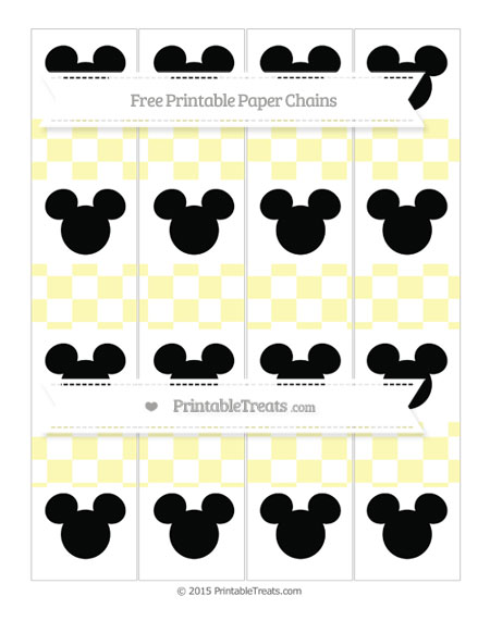 Free Pastel Light Yellow Checker Pattern Mickey Mouse Paper Chains