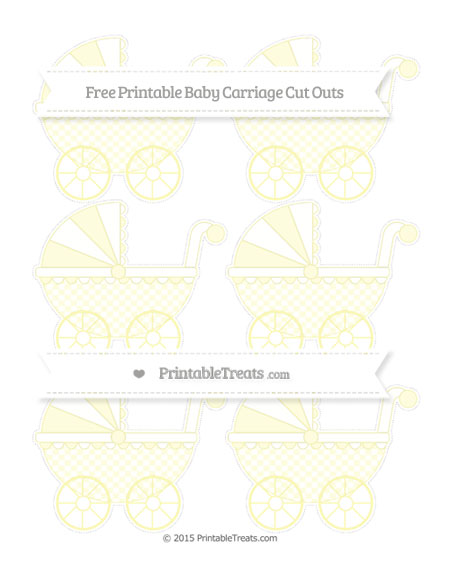 Free Pastel Light Yellow Checker Pattern Small Baby Carriage Cut Outs