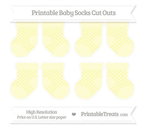 Free Pastel Light Yellow Checker Pattern Small Baby Socks Cut Outs