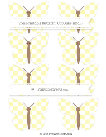 Free Pastel Light Yellow Checker Pattern Small Butterfly Cut Outs