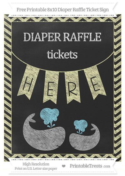 Free Pastel Light Yellow Chevron Chalk Style Baby Whale 8x10 Diaper Raffle Ticket Sign