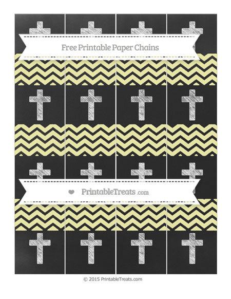 Free Pastel Light Yellow Chevron Chalk Style Cross Paper Chains