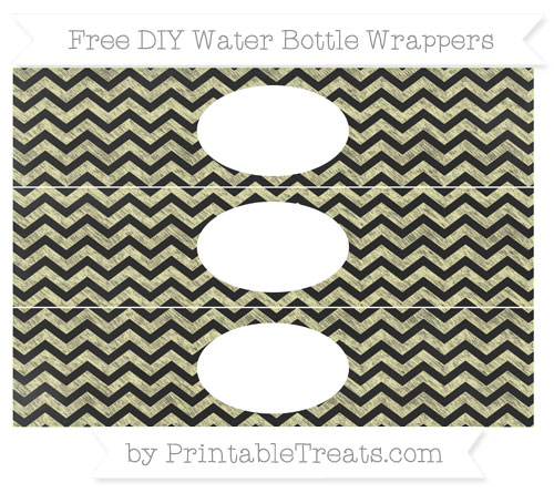 Free Pastel Light Yellow Chevron Chalk Style DIY Water Bottle Wrappers