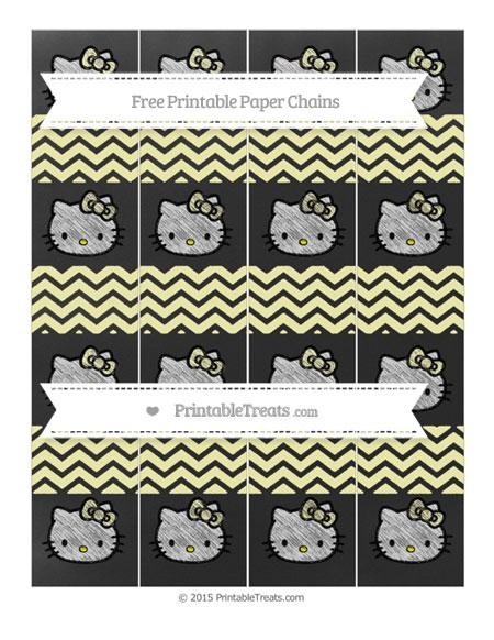 Free Pastel Light Yellow Chevron Chalk Style Hello Kitty Paper Chains