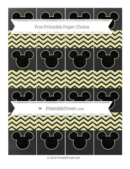 Free Pastel Light Yellow Chevron Chalk Style Mickey Mouse Paper Chains