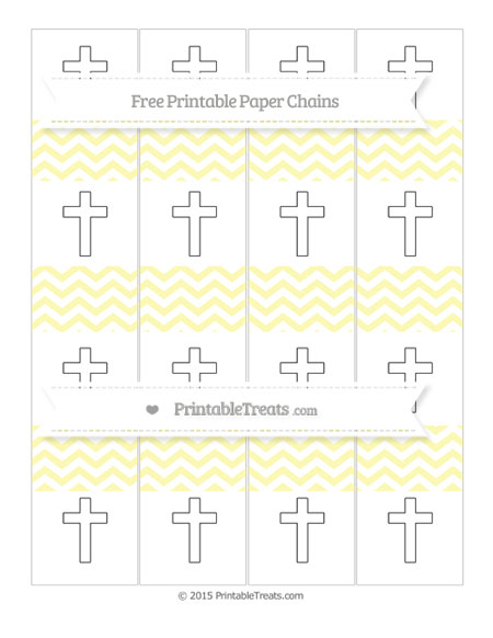 Free Pastel Light Yellow Chevron Cross Paper Chains