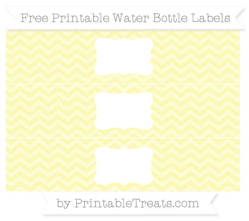 Free Pastel Light Yellow Chevron Water Bottle Labels