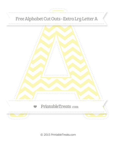 Free Pastel Light Yellow Chevron Extra Large Capital Letter A Cut Outs