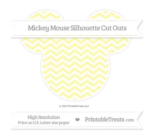 Free Pastel Light Yellow Chevron Extra Large Mickey Mouse Silhouette Cut Outs