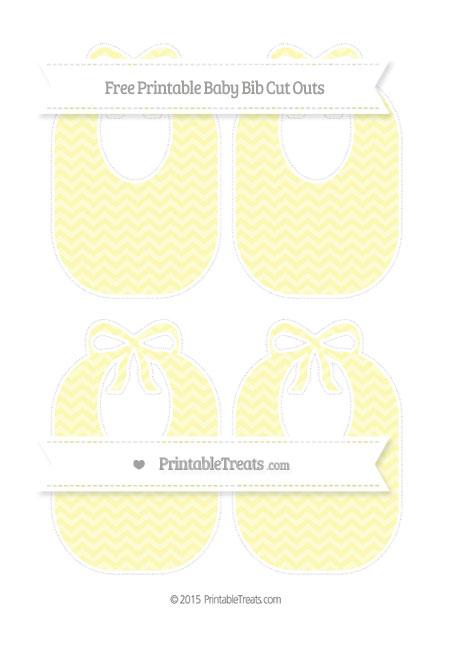 Free Pastel Light Yellow Chevron Medium Baby Bib Cut Outs