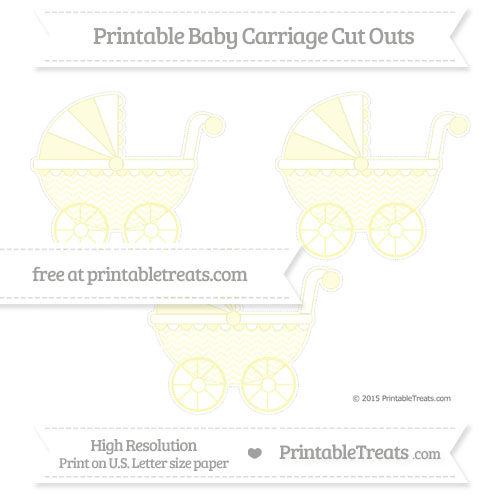 Free Pastel Light Yellow Chevron Medium Baby Carriage Cut Outs