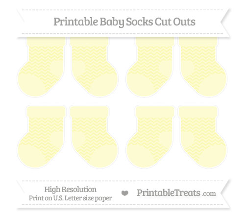 Free Pastel Light Yellow Chevron Small Baby Socks Cut Outs