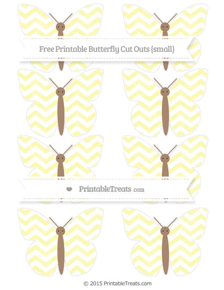 Free Pastel Light Yellow Chevron Small Butterfly Cut Outs