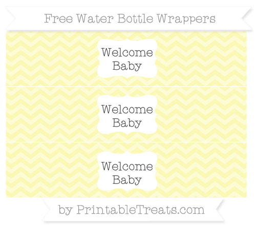 Free Pastel Light Yellow Chevron Welcome Baby Water Bottle Wrappers