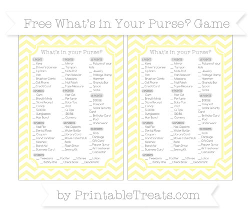 Free Pastel Light Yellow Chevron What's in Your Purse Baby Shower Game