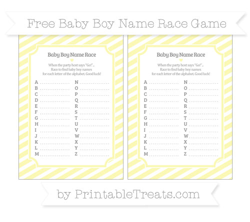 Free Pastel Light Yellow Diagonal Striped Baby Boy Name Race Game
