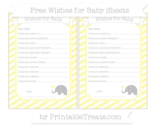 Free Pastel Light Yellow Diagonal Striped Baby Elephant Wishes for Baby Sheets