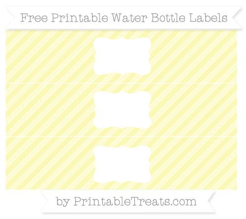 Free Pastel Light Yellow Diagonal Striped Water Bottle Labels