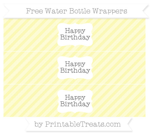 Free Pastel Light Yellow Diagonal Striped Happy Birhtday Water Bottle Wrappers