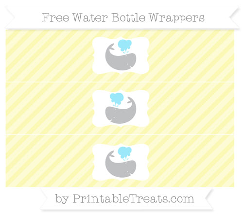 Free Pastel Light Yellow Diagonal Striped Whale Water Bottle Wrappers