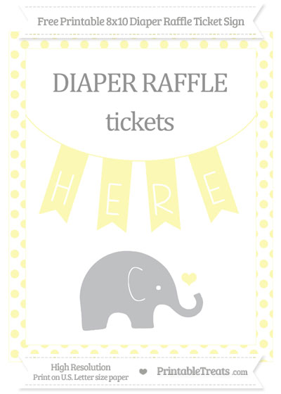 Free Pastel Light Yellow Dotted Baby Elephant 8x10 Diaper Raffle Ticket Sign