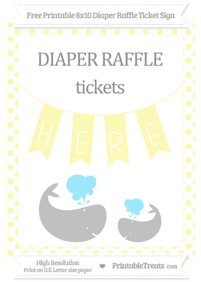 Free Pastel Light Yellow Dotted Baby Whale 8x10 Diaper Raffle Ticket Sign