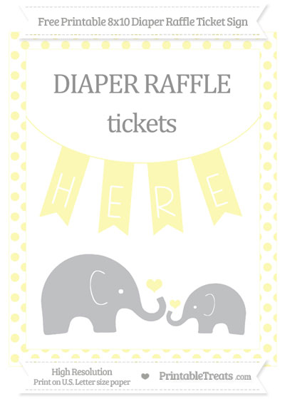 Free Pastel Light Yellow Dotted Elephant 8x10 Diaper Raffle Ticket Sign