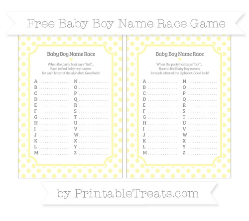 Free Pastel Light Yellow Dotted Pattern Baby Boy Name Race Game