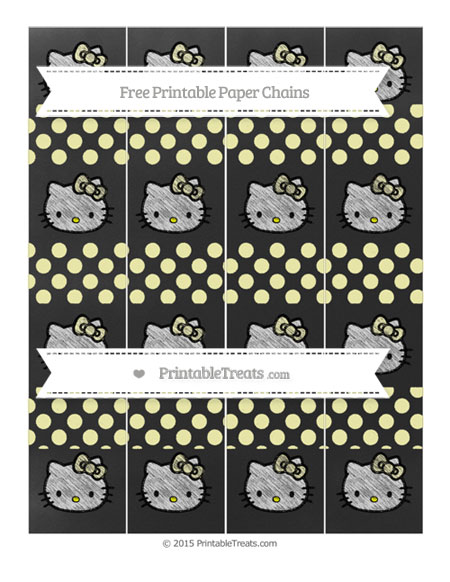 Free Pastel Light Yellow Dotted Pattern Chalk Style Hello Kitty Paper Chains