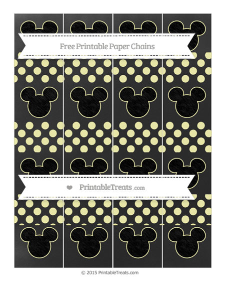 Free Pastel Light Yellow Dotted Pattern Chalk Style Mickey Mouse Paper Chains