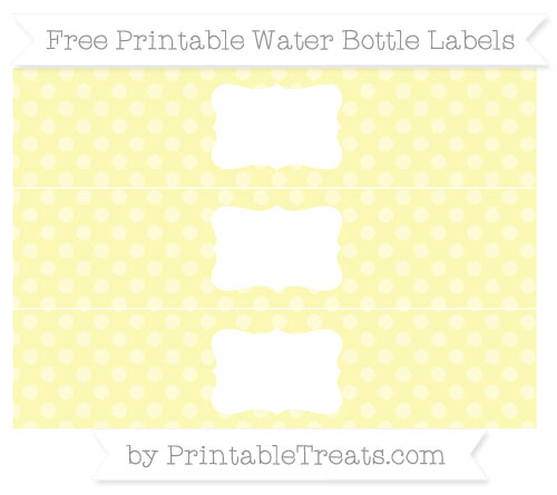 Free Pastel Light Yellow Dotted Pattern Water Bottle Labels