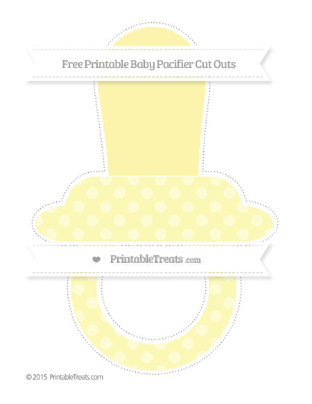 Free Pastel Light Yellow Dotted Pattern Extra Large Baby Pacifier Cut Outs