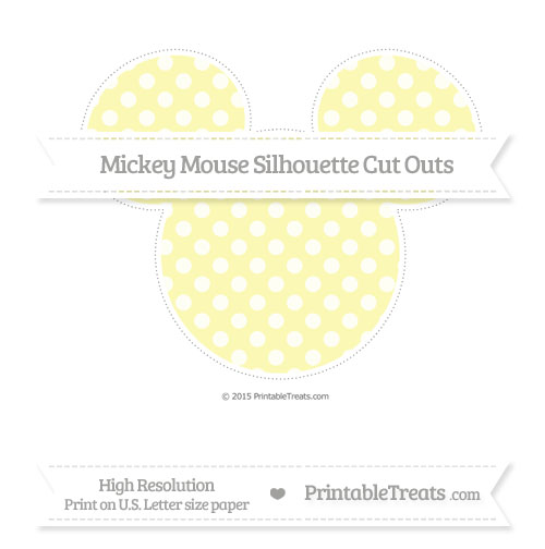 Free Pastel Light Yellow Dotted Pattern Extra Large Mickey Mouse Silhouette Cut Outs