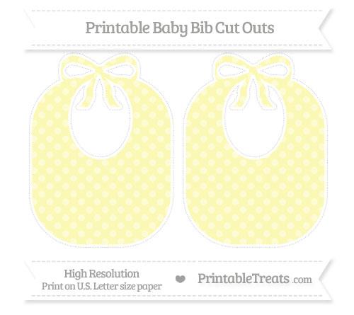 Free Pastel Light Yellow Dotted Pattern Large Baby Bib Cut Outs