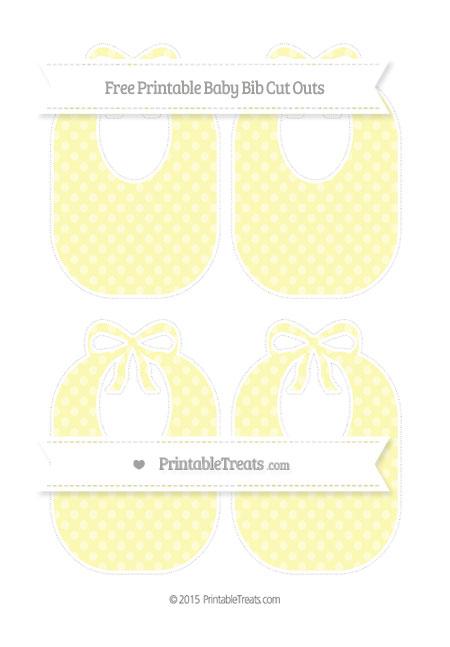 Free Pastel Light Yellow Dotted Pattern Medium Baby Bib Cut Outs