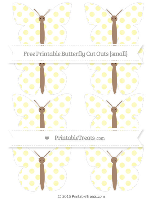 Free Pastel Light Yellow Dotted Pattern Small Butterfly Cut Outs