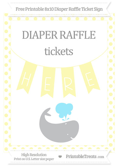 Free Pastel Light Yellow Dotted Whale 8x10 Diaper Raffle Ticket Sign