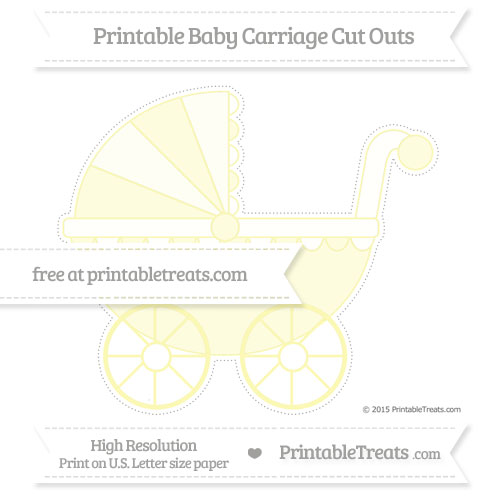 Free Pastel Light Yellow Extra Large Baby Carriage Cut Outs