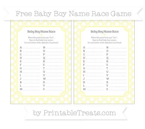 Free Pastel Light Yellow Fish Scale Pattern Baby Boy Name Race Game