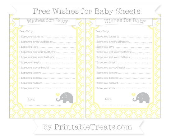 Free Pastel Light Yellow Fish Scale Pattern Baby Elephant Wishes for Baby Sheets