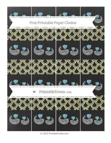 Free Pastel Light Yellow Fish Scale Pattern Chalk Style Baby Whale Paper Chains