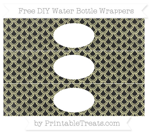 Free Pastel Light Yellow Fish Scale Pattern Chalk Style DIY Water Bottle Wrappers