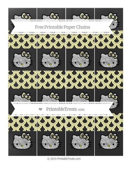 Free Pastel Light Yellow Fish Scale Pattern Chalk Style Hello Kitty Paper Chains