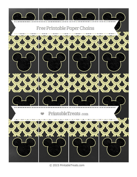 Free Pastel Light Yellow Fish Scale Pattern Chalk Style Mickey Mouse Paper Chains