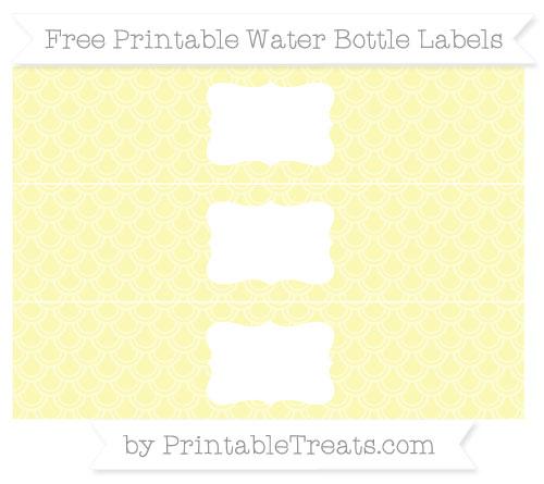 Free Pastel Light Yellow Fish Scale Pattern Water Bottle Labels