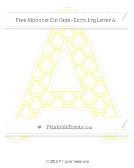 Free Pastel Light Yellow Fish Scale Pattern Extra Large Capital Letter A Cut Outs