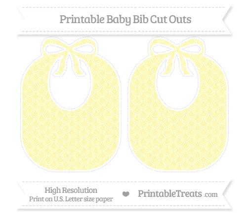 Free Pastel Light Yellow Fish Scale Pattern Large Baby Bib Cut Outs